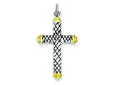 Sterling Silver Vermeil and Enamel Cross Pendant - Chain Included style: QC7276