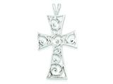 Sterling Silver Polished Swirl Cross Pendant - Chain Included style: QC7278