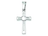 Sterling Silver Polished And Textured Cross Pendant - Chain Included style: QC7295