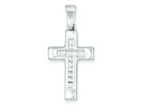 Sterling Silver Polished Cross Pendant - Chain Included style: QC7296