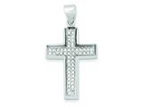 Sterling Silver Rhodium and Ferido Stellux Crystal Cross Pendant - Chain Included style: QC7309