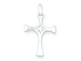 Sterling Silver Cubic Zirconia Cross Pendant - Chain Included style: QC7323