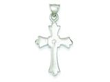 Sterling Silver Cubic Zirconia Cross Pendant - Chain Included style: QC7325