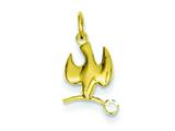Sterling Silver Polished Vermeil Dove With Cubic Zirconia Pendant - Chain Included style: QC7333
