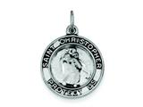 Sterling Silver Round Antiqued St. Christopher Medal Pendant - Chain Included style: QC7367