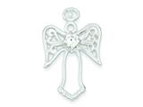 Sterling Silver Cubic Zirconia Angel Pendant - Chain Included style: QC7386
