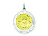 Sterling Silver and Vermeil Polished Holy Communion Medal Pendant - Chain Included style: QC7388