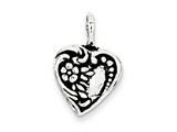 Sterling Silver Antiqued Heart Charm style: QC7471
