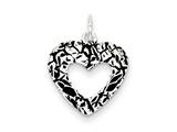 Sterling Silver Antiqued Heart Charm style: QC7472