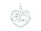 Sterling Silver Mom Heart Charm style: QC7477