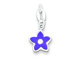 Sterling Silver Polished Enamel Cubic Zirconia Flower Charm style: QC7543