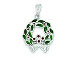 Sterling Silver Green and Red Wreath Pendant - Chain Included style: QC7579