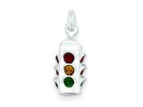 Sterling Silver Multi Color Stellux Crystal Traffic Light Sign Charm style: QC7585