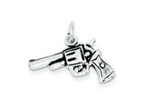 Sterling Silver Antiqued Pistol Charm style: QC7610
