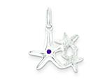 Sterling Silver Laser Cut Enamel Star Fish Trio Pendant - Chain Included style: QC7630