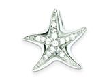Sterling Silver Cubic Zirconia Starfish Pendant Slide - Chain Included style: QC7633