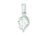 Sterling Silver Dolphin Cubic Zirconia Pendant - Chain Included style: QC7651
