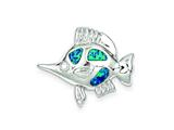 Sterling Silver Cubic Zirconia Blue Inlay Created Opal Fish Pendant - Chain Included style: QC7686
