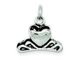 Sterling Silver Antiqued Heart Hair Clip Charm style: QC7714