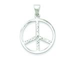 Sterling Silver Cubic Zirconia Peace Sign Pendant - Chain Included style: QC7728
