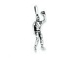 Sterling Silver Antiqued Baseball Player Charm style: QC7800