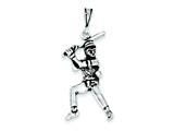Sterling Silver Antiqued Baseball Player Charm style: QC7803