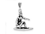 Sterling Silver Antiqued Surfing Charm style: QC7813