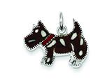 Sterling Silver Black and White Enamel Dog Charm style: QC7822