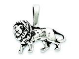 Sterling Silver Antiqued Lion Charm style: QC7865