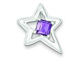 Sterling Silver Polished Star Amethyst Pendant - Chain Included style: QC7889