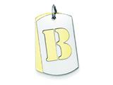 Sterling Silver Initial B Double Plate Dog Tag Charm style: QC7909B
