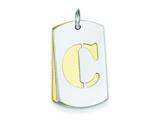 Sterling Silver Initial C Double Plate Dog Tag Charm style: QC7909C