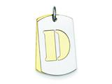 Sterling Silver Initial D Double Plate Dog Tag Charm style: QC7909D