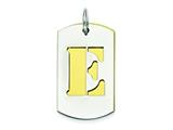 Sterling Silver Initial E Double Plate Dog Tag Charm style: QC7909E