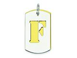 Sterling Silver Initial F Double Plate Dog Tag Charm style: QC7909F