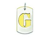 Sterling Silver Initial G Double Plate Dog Tag Charm style: QC7909G