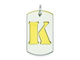 Sterling Silver Initial K Double Plate Dog Tag Charm style: QC7909K