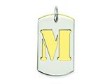 Sterling Silver Initial M Double Plate Dog Tag Charm style: QC7909M
