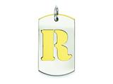 Sterling Silver Initial R Double Plate Dog Tag Charm style: QC7909R