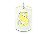 Sterling Silver Initial S Double Plate Dog Tag Charm style: QC7909S
