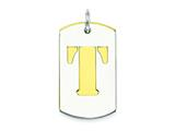 Sterling Silver Initial T Double Plate Dog Tag Charm style: QC7909T