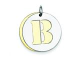 Sterling Silver Initial B Double Plate Round Charm style: QC7910B