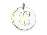 Sterling Silver Initial C Double Plate Round Charm style: QC7910C