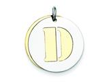 Sterling Silver Initial D Double Plate Round Charm style: QC7910D