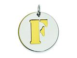 Sterling Silver Initial F Double Plate Round Charm style: QC7910F