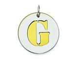 Sterling Silver Initial G Double Plate Round Charm style: QC7910G