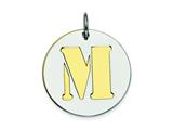 Sterling Silver Initial M Double Plate Round Charm style: QC7910M