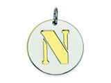 Sterling Silver Initial N Double Plate Round Charm style: QC7910N