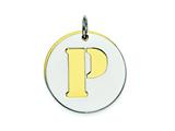 Sterling Silver Initial P Double Plate Round Charm style: QC7910P