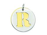 Sterling Silver Initial R Double Plate Round Charm style: QC7910R